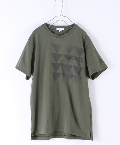 Engineered Garments PRINTED CROSS CREW NECK T-SHIRT - TRIANGLE-
