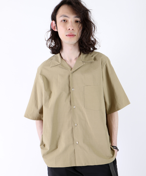 AURALEE SELVEDGE WEATHER CLOTH OPEN COLLARED SHIRTS