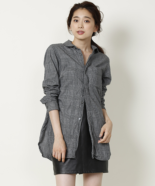FWK by ENGINEERED GARMENTS Rounded Collar Shirt - Brushed / Dk.Grey Glen Plaid
